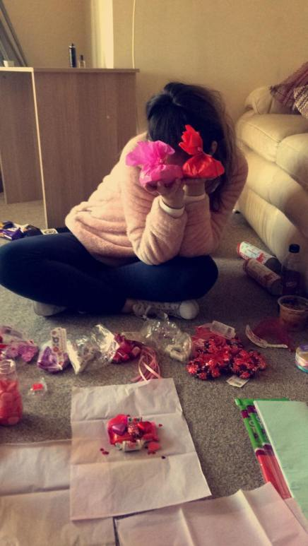 Making Valentines sweet packages